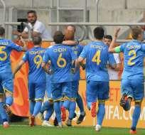Los ucranianos vencieron 1-0 a Italia con una polémica decisión del VAR. Foto: ALIK KEPLICZ / AFP