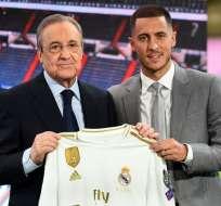 Florentino Pérez junto a Eden Hazard, nuevo refuerzo 'blanco'.