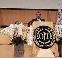 Ministro Madero fue ponente en reunión de la Conferencia Internacional del Trabajo. Foto: Cortesía
