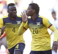 Gonzalo Plata (20) celebra un tanto con Ecuador.