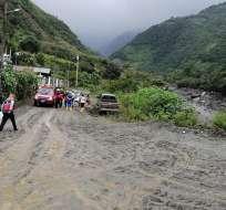 BAÑOS DE AGUA SANTA, Ecuador.- Varias vías quedaron destruidas tras el paso del aluvión. Foto: GAD Baños