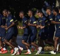 Jugadores de Ecuador, en un ensayo.