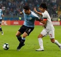 Luis Suárez en el partido de la noche del jueves ante Japón.