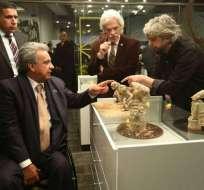 Moreno y Pérez durante el acto inaugural del Museo Nacional del Ecuador en mayo del 2018.