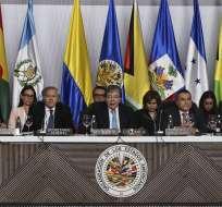 Protesta por delegación de Guaidó en OEA. Foto: AFP