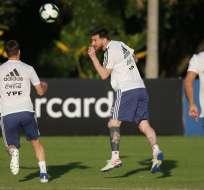 Messi en una práctica de Argentina. Foto: Twitter Selección Argentina.