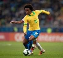 William en un partido de su Selección. Foto Twitter Selección Brasil.