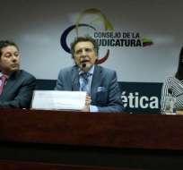 QUITO, Ecuador.- Marco Proaño, Pablo Celi y Diana Salazar. Foto: Fiscalía