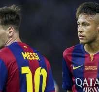 Messi y Neymar en su etapa de compañeros en el Barcelona.