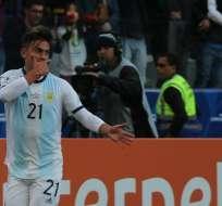 Paulo Dybala celebra el segundo gol de Argentina. Foto: Twttier Argentina.