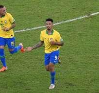 Gabriel Jesús celebra el segundo tanto del partido. Foto: Twitter Copa América.