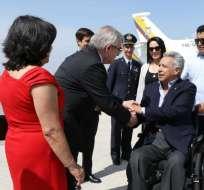 ITALIA.- A su llegada, Lenin Moreno fue recibido por una comitiva. Foto: Cortesía