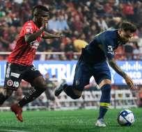 El delantero ecuatoriano anotó a los 87 minutos para que Xolos gane 1-0. Foto: Guillermo Arias / AFP