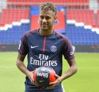 Neymar en su presentación en el PSG en 2017.