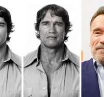 Arnold Schwarzenegger antes de usar la aplicación, después de usarla y como luce en la vida real actualmente.