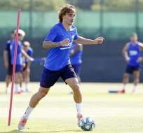 Griezmann en una práctica del club. Foto: Twitter FC Barcelona.