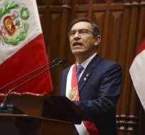 LIMA, Perú.- El mandatario durante su mensaje anual desde el plenario del Congreso. Foto: AFP