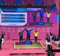 Lisette Ayoví en el momento de la premiación. Foto: Twitter de Los Juegos Panamericanos.