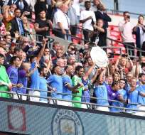Jugadores del City celebrando. Foto: Twitter Manchester City.