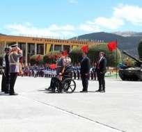 El presidente de la República, Lenín Moreno, encabezó el acto militar. Foto: Comunicación Ec