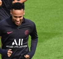 El delantero brasileño practicó separado del grupo debido a que se recupera de una lesión. Foto: DOMINIQUE FAGET / AFP