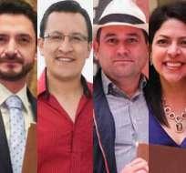 ECUADOR.- Juan José Dávalos (i), David Rosero, Francisco Bravo e Ibeth Estupiñán se principalizan. Collage: Ecuavisa