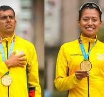 Claudio Villanueva, junto a Johanna Ordóñez, medallistas.