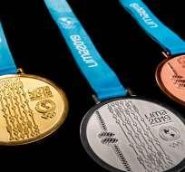 Medallas de oro, plata y bronce.