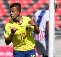 Jordan Rezabala, celebrando un gol en la selección.