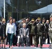 Moreno participó de un evento de respaldo a los miembros de la Policía Nacional. Foto: Ministerio de Gobierno