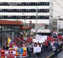 La marcha del Frente Unitario de Trabajadores también se dio en Guayaquil y Cuenca. Foto: API