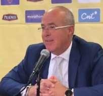 El entrenador de la selección ecuatoriana habló en rueda de prensa tras el triunfo. Foto: Captura de pantalla