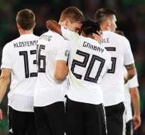 Jugadores de Alemania festejan uno de los goles. Foto: Twitter Selección Alemana.
