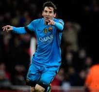 Messi celebrando una anotación contra el Arsenal.