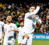 Cristiano celebra uno de sus goles. Foto: Twitter Portugal.