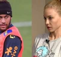 Neymar y la mujer que lo denunció.