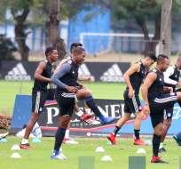 Jugadores de Emelec durante una práctica. Foto: Entrenamiento Emelec.