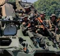 Ejercicios militares en la frontera entre Venezuela y Colombia. Foto: AFP