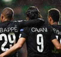 Mbappé, Cavani y Neymar, figuras del PSG.