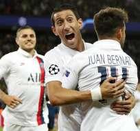 Jugadores del PSG celebrando uno de los tres goles.