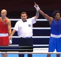 El pugilista nacional venció al kazajo Vassiliy Levit en semifinales. Foto: Tomada de @DeporteEc