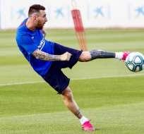 Messi en un entrenamiento del FC Barcelona. Foto: Twitter FCB.