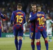 Jugadores del FC Barcelona, celebrando un gol.