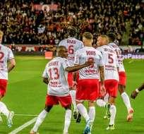 Reims festejando su victoria ante PSG. Foto: Twitter Reims.