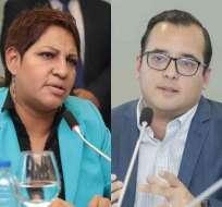 QUITO, Ecuador.- María José Carrión y Héctor Yépez se niegan a renunciar a dirigir sus mesas parlamentarias. Collage: Ecuavisa