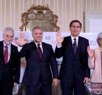 Sebastián Piñera, de Chile; Iván Duque, de Colombia; Martín Vizcarra, de Perú; y Graciela Márquez, de México.