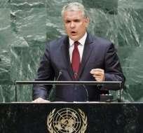 El presidente Iván Duque llevó a la ONU un informe para probar que guerrilleros colombianos operan en Venezuela.