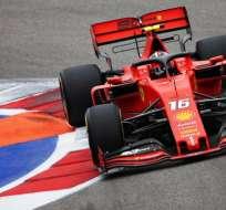 Leclerc en una pasada del GP de Rusia. Foto: Twitter F1.