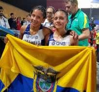 Las atletas ecuatorianas llegaron en el puesto 18 y 25, respectivamente. Foto: @ECUADORolimpico