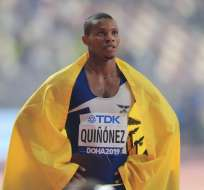El velocista hizo un tiempo de 19:98 y fue superado por De Grasse y Lyles. Foto: MUSTAFA ABUMUNES / AFP